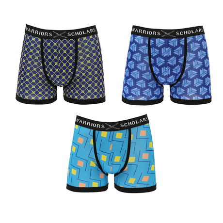 Tripp Moisture Wicking Boxer Briefs // Blue + Yellow // Pack of 3 (S)