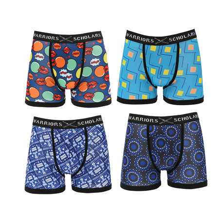 Cayman Moisture Wicking Boxer Briefs // Blue + Black // Pack of 4 (S)