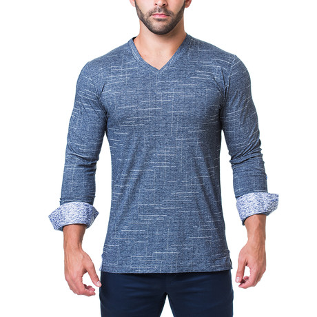 Edison V-Neck // Check Navy (S)