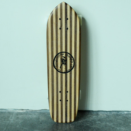 Vintage Cruiser Skateboard // Pinstriped // Maple + Walnut