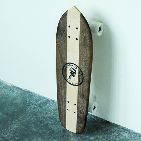 Vintage Cruiser Skateboard // Vertical Stripe // Walnut + Maple