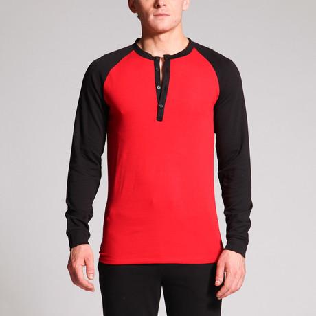 Matthew 4-Button Raglan Henley // Black + Red (S)