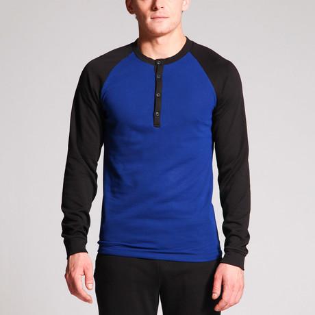 Matthew 4-Button Raglan Henley // Royal Blue + Black (S)
