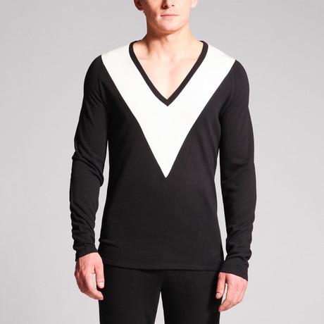 Connor Deep V Top // Black + White (S)