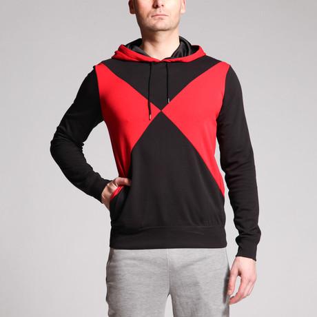 Johnny Cross Diamond Hoodie Top // Black + Red (S)
