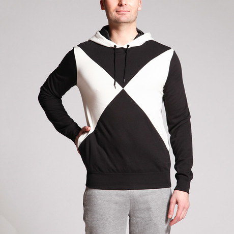 Johnny Cross Diamond Hoodie Top // Black + White (S)
