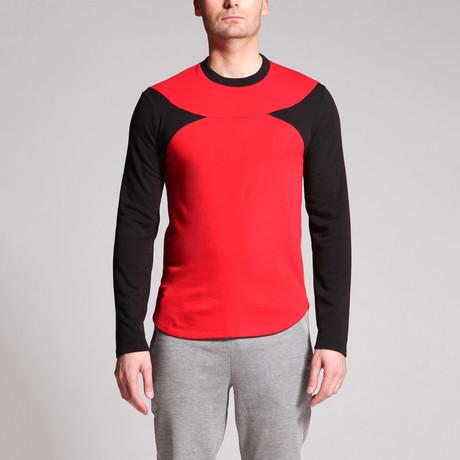 David Point Panel Shirt // Black + Red (S)
