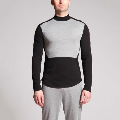 Captin Color Block Shirt // Black + Grey (S)