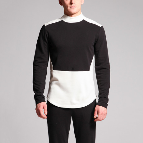 Captin Color Block Shirt // Black + White (S)