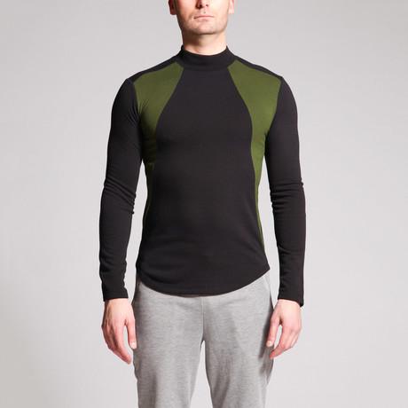 Data Panel Shirt // Black + Olive (S)