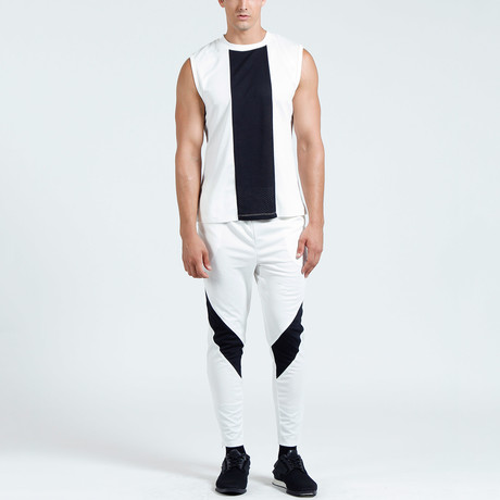 Jordan Muscle Tank // White + Black (S)
