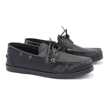 Leather Boat Shoe // Black (Euro: 40)