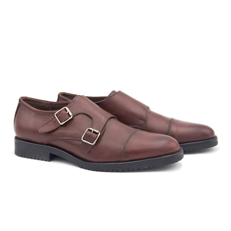 Leather Monk Strap Shoe // Burgundy (Euro: 40)