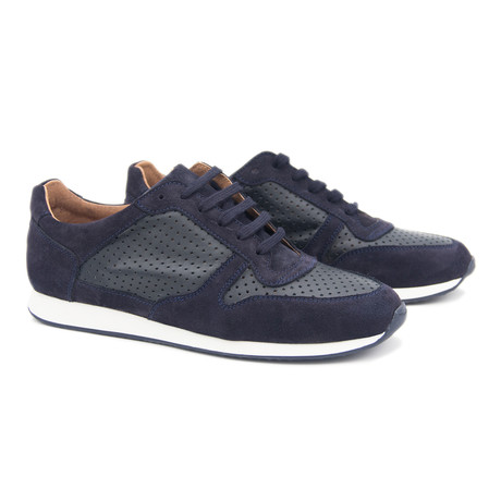 Perforated Leather Sport Shoe // Midnight Blue (Euro: 40)