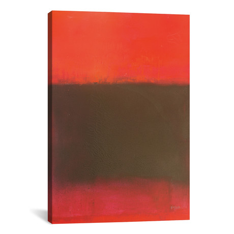 "Composition In Reds And Black // Wayne Sleeth (12""W x 18""H x 0.75""D)"