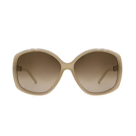 Chloe // Round Sunglasses // Ivory + Brown Gradient