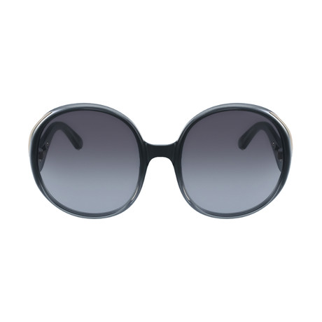 Chloe // Women's Round Sunglasses // Gradient Blue + Turtledove