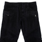 Balmain Paris // Cotton Denim Biker Jeans Pants // Black (34WX32L)