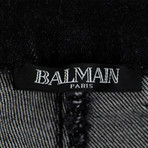 Balmain Paris // Waxed Cotton Denim Skinny Jeans Pants // Black (34WX32L)