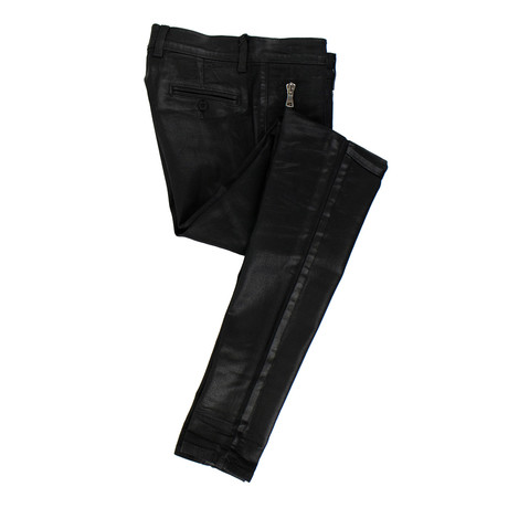 Balmain Paris // Waxed Cotton Denim Skinny Jeans Pants // Black (28WX32L)