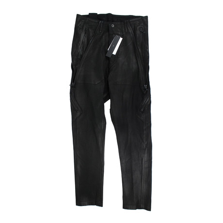 Julius 7 // Lamb Nubuck Leather Slim Fit Jeans Pants // Black (XS)