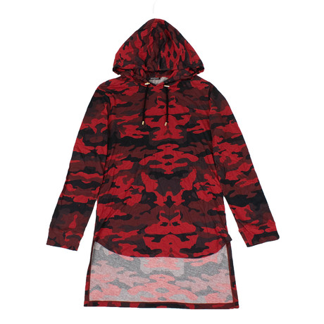 Balmain Paris // Camouflage Cotton Hoodie Sweatshirt Shirt // Red (XS)