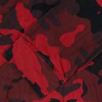 Balmain Paris // Camouflage Cotton Hoodie Sweatshirt Shirt // Red (M)