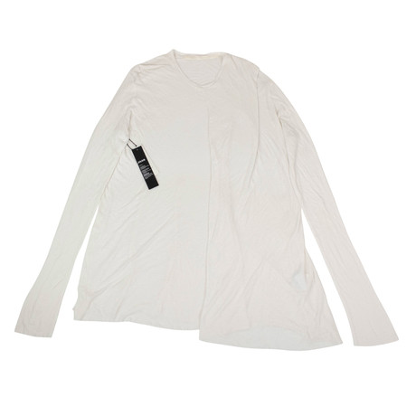 Julius 7 // Silk Blend Long Sleeve Long Ribbed Crewneck T-Shirt // White (XS)