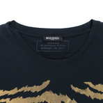Balmain Paris // Cotton Short Sleeve Crewneck T-Shirt // Black + Gold (M)