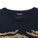 Balmain Paris // Cotton Short Sleeve Crewneck T-Shirt // Black + Gold (L)