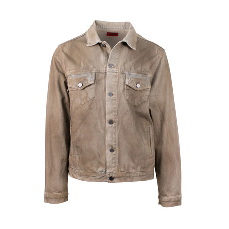 424 // Dirty Money Denim Trucker Jacket // Brown (XS)