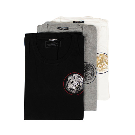 Balmain Paris // Short Sleeve Printed Tees // Pack of 3 // Gray + Black + White (XS)