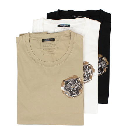 Balmain Paris // Short Sleeve Printed Tees // Pack of 3 // Beige + Black + White (XS)