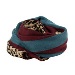Palm Angels // Unisex Animal Print Scarf // Blue + Burgundy