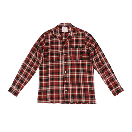 Palm Angels // Check Button Down Pajama Shirt // Red (Euro: 36)