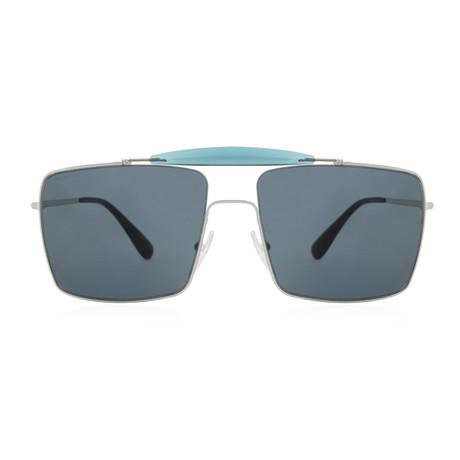 Prada // Men's Square Aviator Sunglasses // Silver + Dark Grey