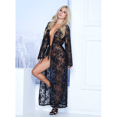 Camila Long Lace Robe + G-String // Black (S)