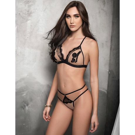 Stella Bra + Thong // Nude + Black (S-M)