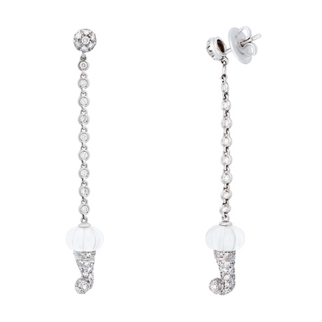 Vintage Chantecler 18k White Gold Crystal + Diamond Earrings