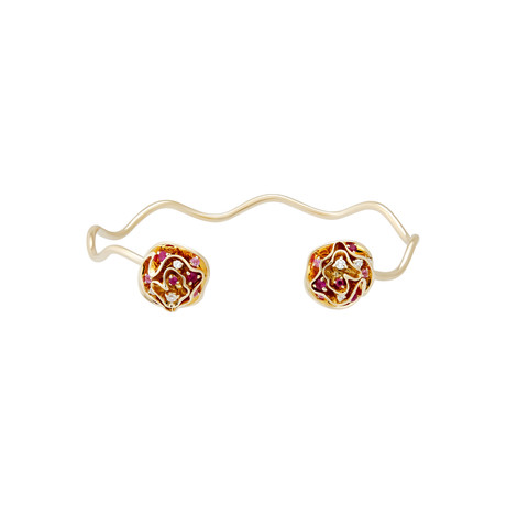 Vintage Louis Vuitton 18k Yellow Gold Sapphire + Diamond + Ruby Floral Bracelet // Bracelet: 6.5""