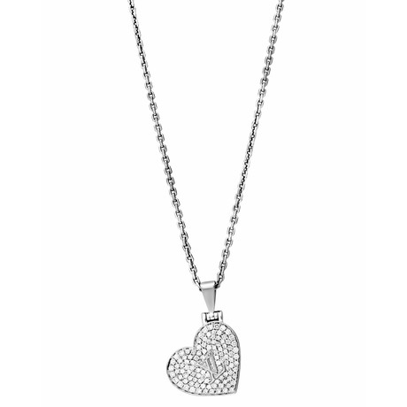 Vintage Louis Vuitton 18k White Gold Diamond Heart Necklace // Chain: 15""