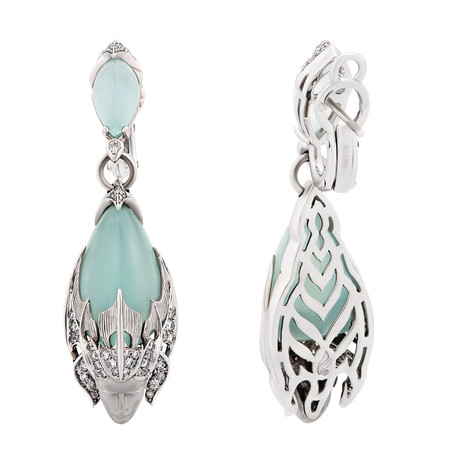 Vintage Magerit 18k White Gold Atlantis Sirena Espuma Aquamarine + Diamond Earrings