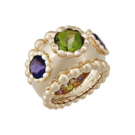 Vintage Chanel 18k Yellow Gold Peridot + Amethyst Ring // Ring Size: 5.5