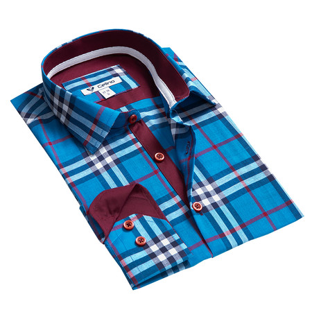 Reversible Cuff Button-Down // Medium Blue Check (S)