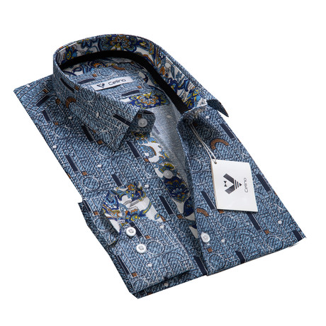 Reversible Cuff Button-Down Shirt // Blue + Multicolor (S)