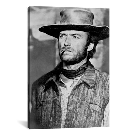 "Clint Eastwood Looking Away In Cowboy Attire With Cigarette (26""W x 18""H x 0.75""D)"