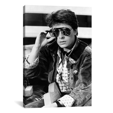 "Michael J Fox Wearing Aviator Sunglasses And A Denim Jacket (26""W x 18""H x 0.75""D)"
