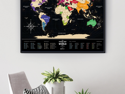 Photo of 1DEA Scratch Foil World Maps World Travel Map // Black + Gold by Touch Of Modern