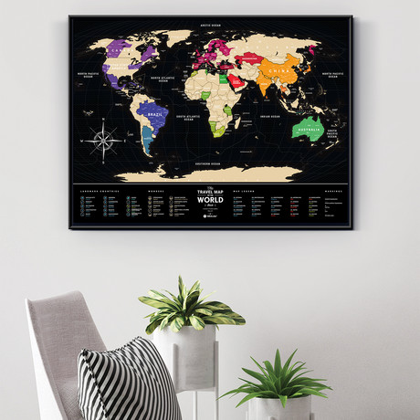 World Travel Map // Black + Gold