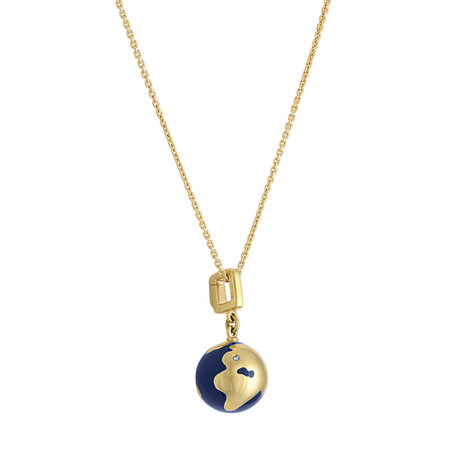 Vintage Louis Vuitton 18k Yellow Gold Lapiz World Globe Necklace // Chain: 16""